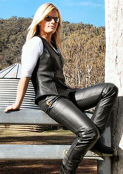 wearing blackmax leather vest and jeans