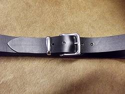 solid leather belt with S/S buckle set,  black