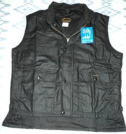 oilskin vest with leather collar